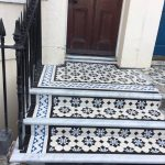 Victorian steps recreated in Brighton Tiles supplied by London mosaic Marble nosings from Francis Tate Marbleworks